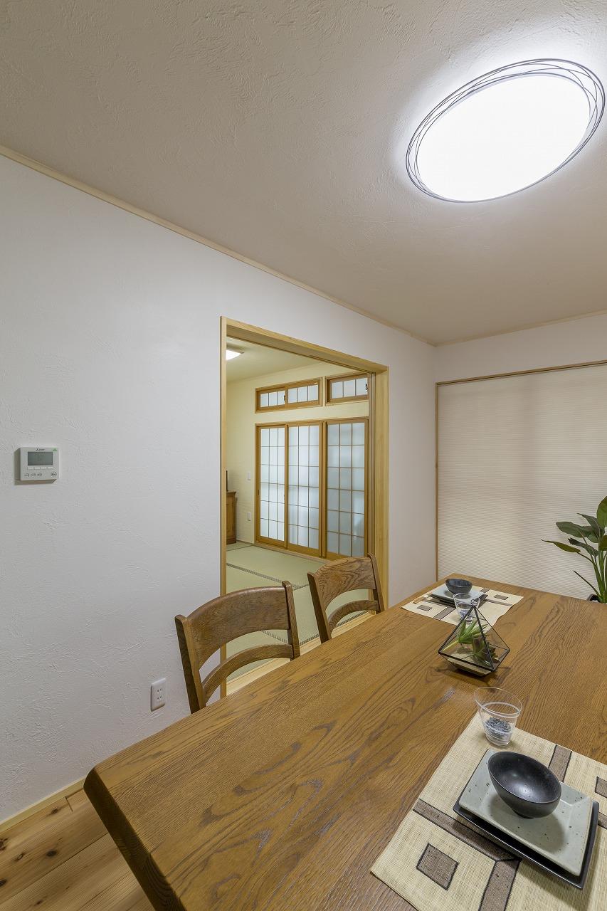 暖気が逃げてしまうので閉めっぱなしだった和室の扉。光冷暖で室温が保たれてからは、常に全開です。