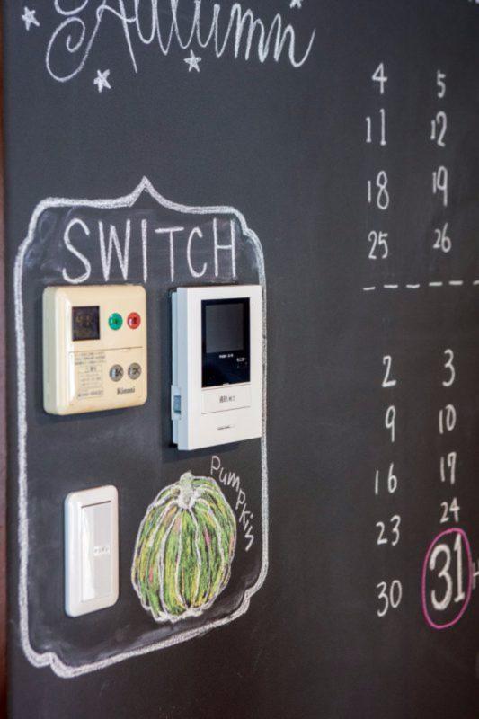 黒板ボードの一角にスイッチ、パネルをひとまとめ。ポップで可愛いコーナーが誕生。