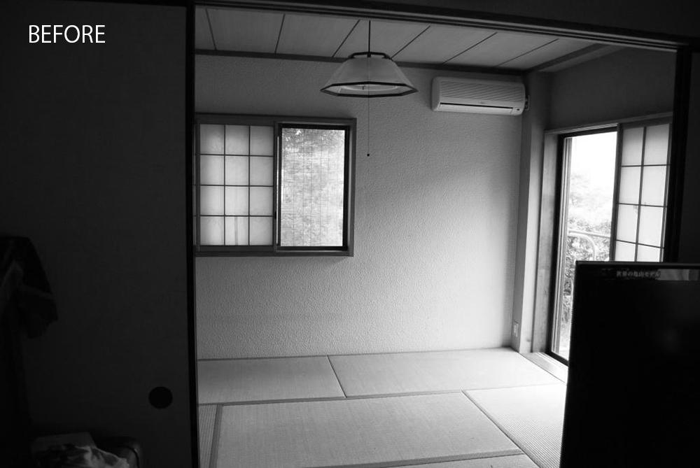 スタジオ施工前は、障子やふすまのある純和風空間でした。
