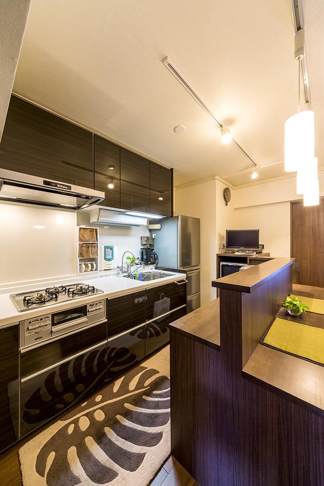 便利さ実感のすっきりしたキッチンカウンターにも満足。
