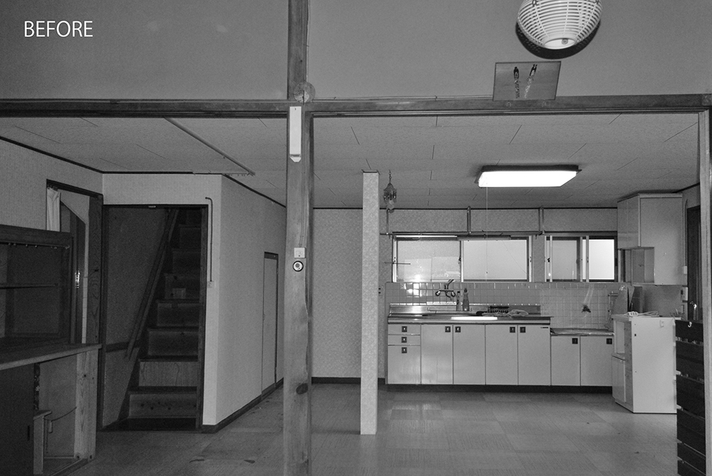 キッチンは玄関から最も遠い位置にあり、不便な動線でした。