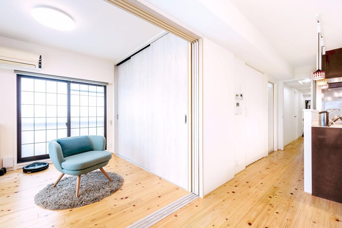 和室をフローリングに変え、フルオープンで広々空間に
