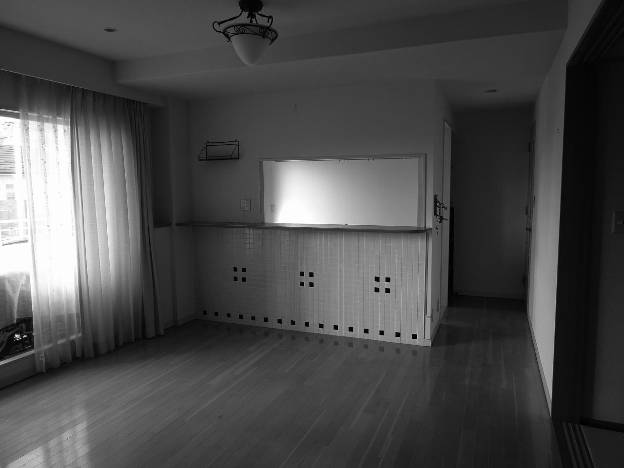 LDの一角に壁で囲んだカウンターキッチンがあるつくりでした。