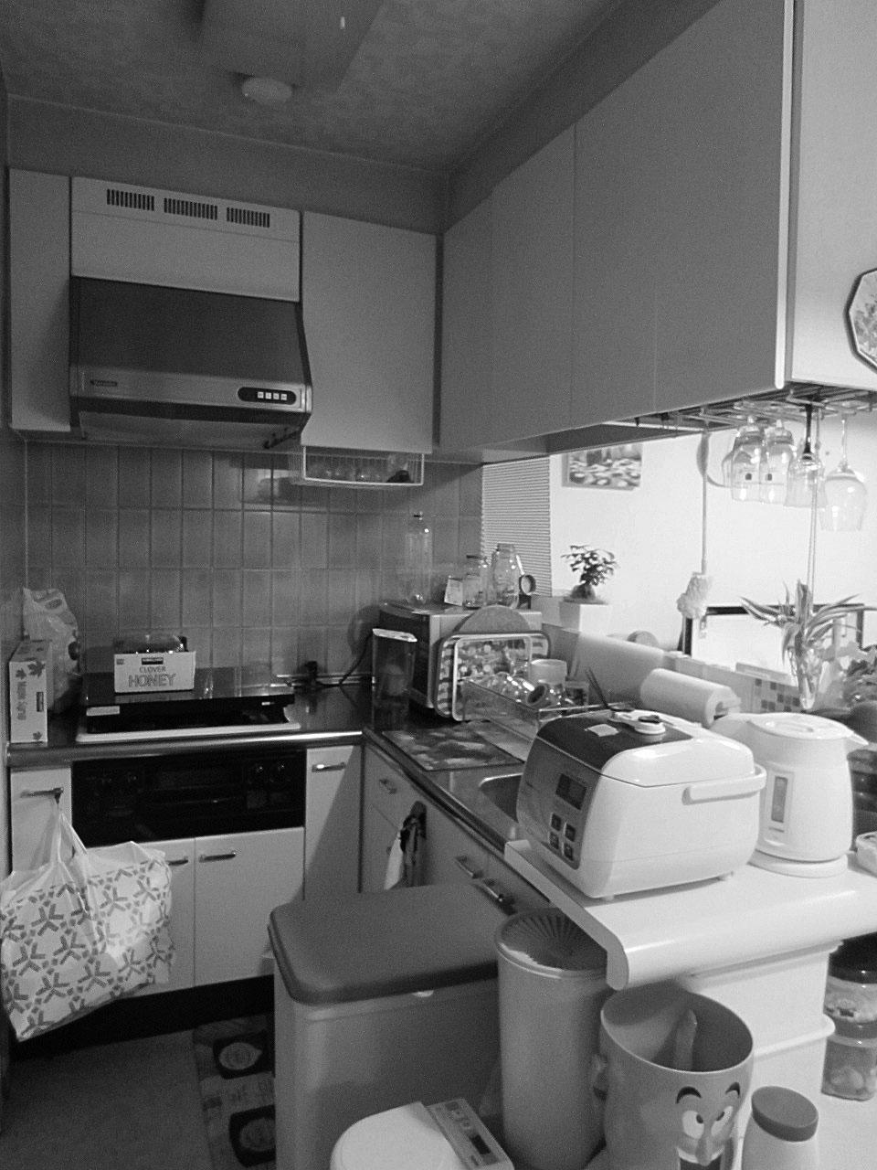 L型のキッチンは、リビング側に吊り戸がありやや閉鎖的な印象でした。