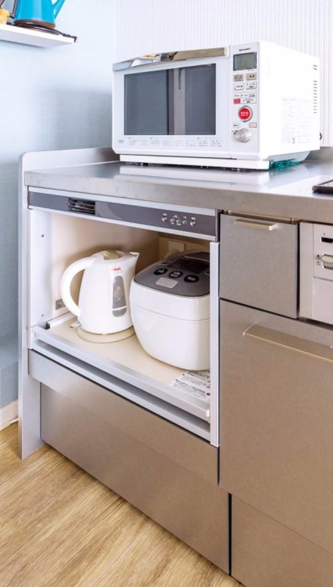 調理家電を収納したことで、キッチンの作業台も広く、使いやすくなりました。